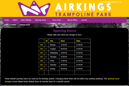 Screen Shot Of Admin Area Opening Times
