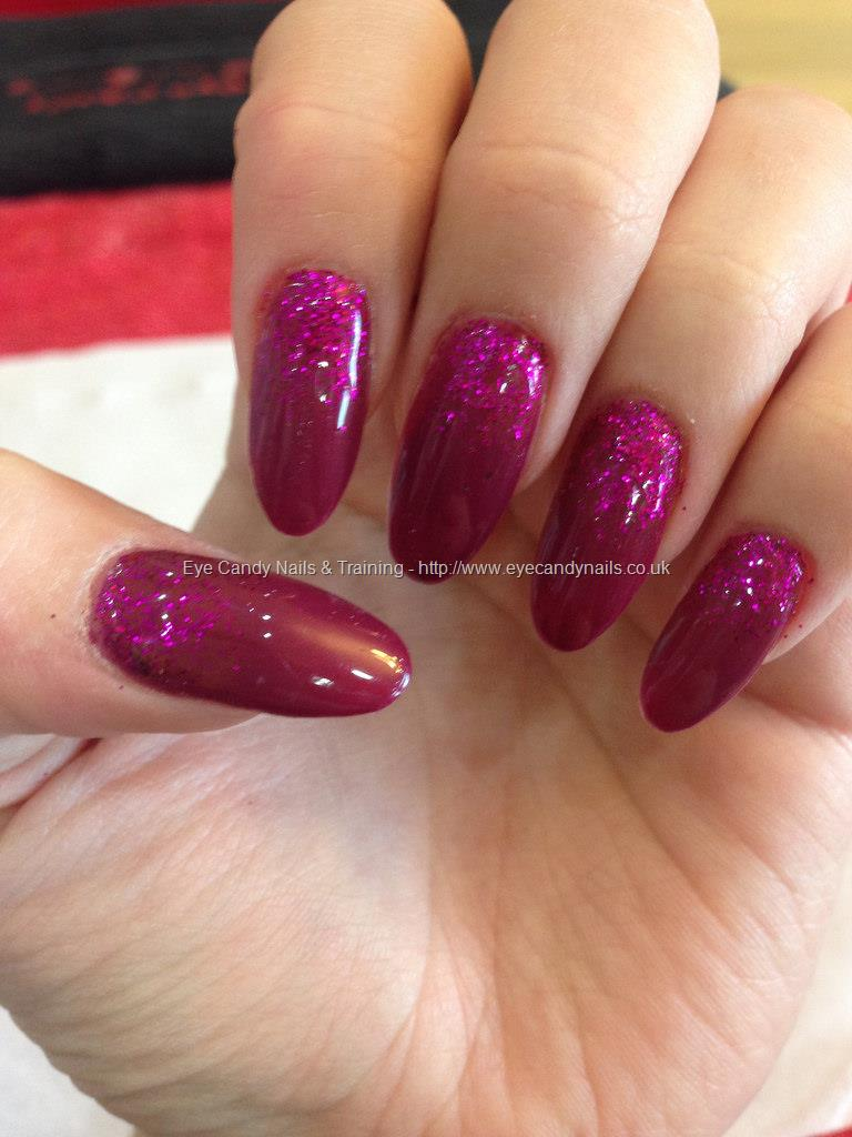Dev Guy Vampire Blood And Raspberry Glitter On Almond Shaped Nails