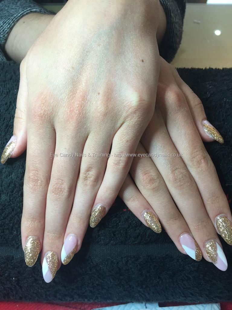 Social Build - Acrylic Nails, Gold Glitter With Pink And White ...