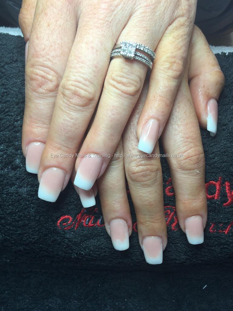 dev guy pink and white ombr233 on square acrylic nails