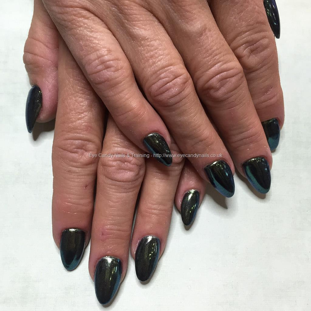 Acrylic Nails With Black Gel Polish And Green Chrome Nail TechnicianJade McCluskey Taken