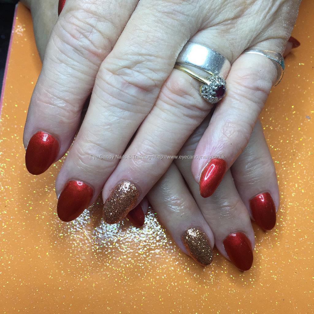 Social Build - Satalite My Fire Gel Polish On Almond Shaped Nails ...