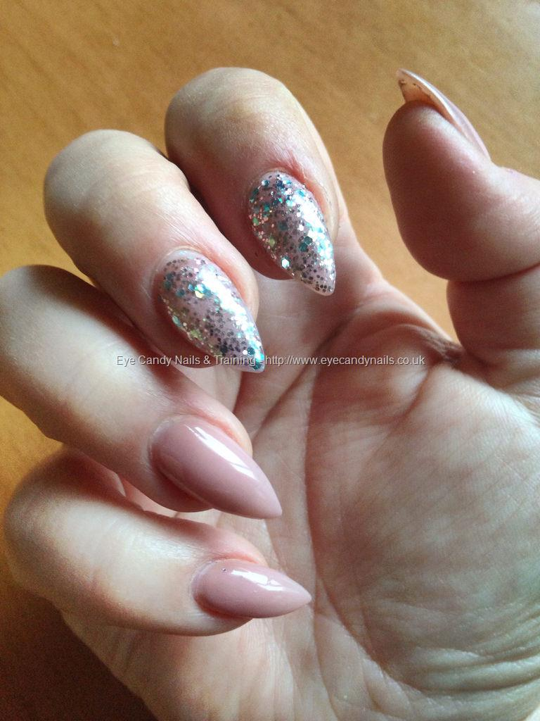 Social Build - Almonds With Rose Antique Glitter And Nude Gel Polish ...