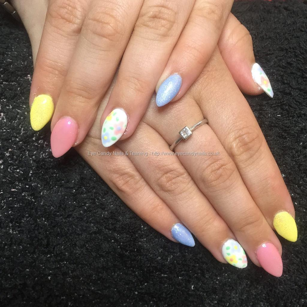 Almond Acrylics With Pastel Pink Yellow And Blue Gel Polishes Nail Art Flowers On