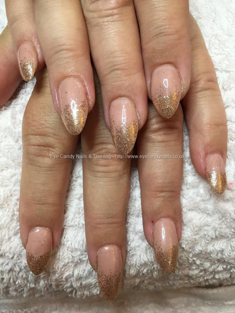 Social Build - Almond Acrylics With Nude Gel Polish And Gold ...