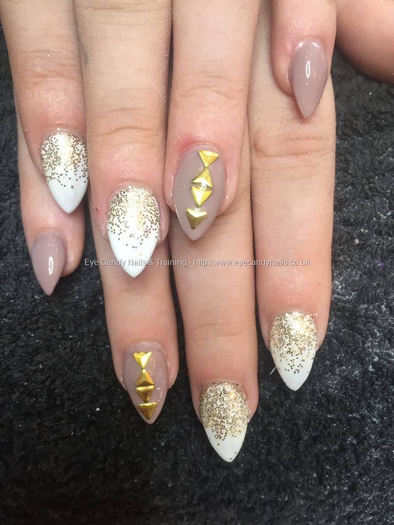 dev guy almond acrylics with gold glitter fade with