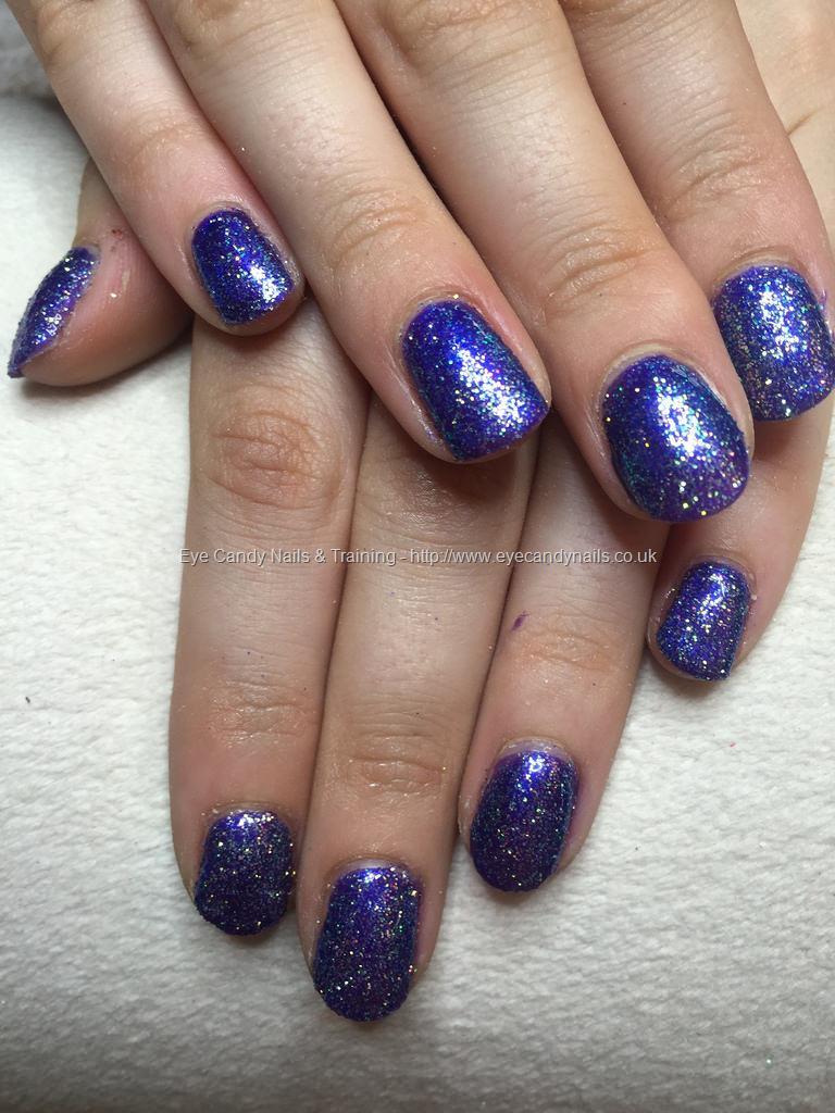 Social Build - Blue Shimmer Gel Polish On Natural Nails With Lilac ...