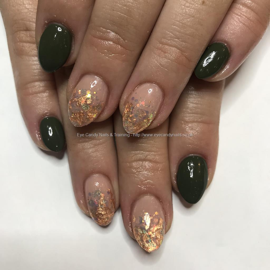 Social Build - Army Green Gel Polish With Encapsulated Rose Gold ...