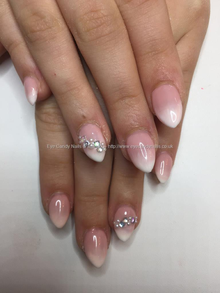 Social Build - Almond Acrylics With Pink And White Ombré, Pearls And ...
