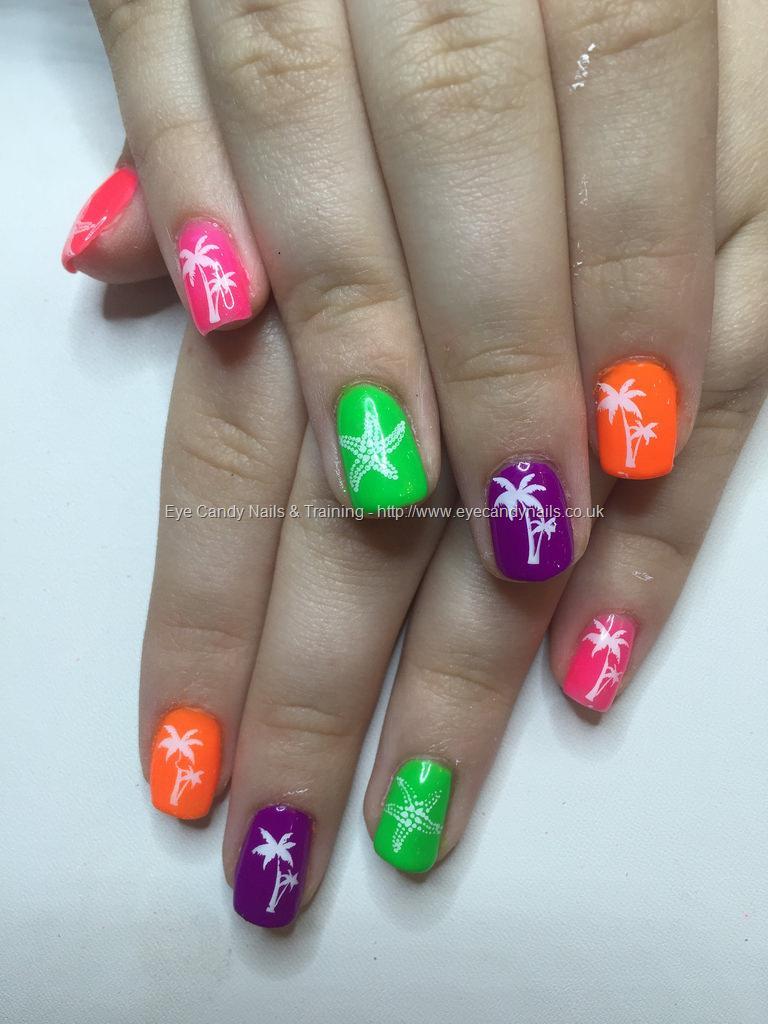 Social Build - Neon Gel Polish With Palm Trees And Starfish Nail Art ...