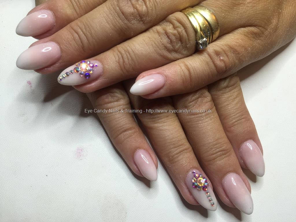 Social Build - Pink And White Ombré Almond Acrylics With Swarovski ...