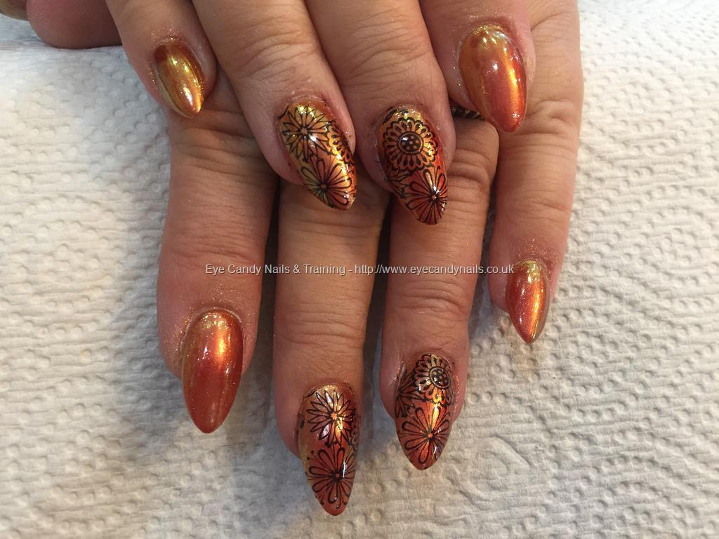 Social build almond acrylics with copper chrome and floral nail almond acrylics with copper chrome and floral nail art designs nail technicianamy mitchell prinsesfo Choice Image