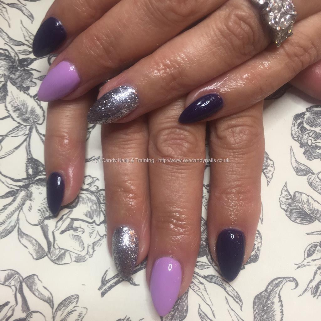 Social Build - Almond Acrylics With Lilac And Deep Purple Gel Polish ...