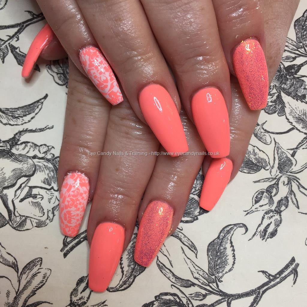 Social Build - Tapered Acrylics With Neon Coral Gel Polish With ...