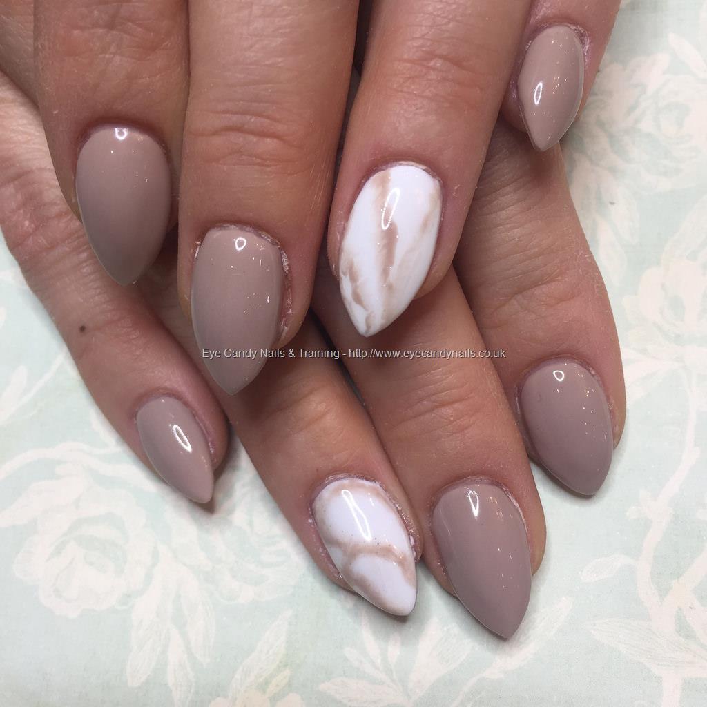 Nail Polish Marble Effect On Glass: Almond Acrylics With Dock Side Diva Gel Polish