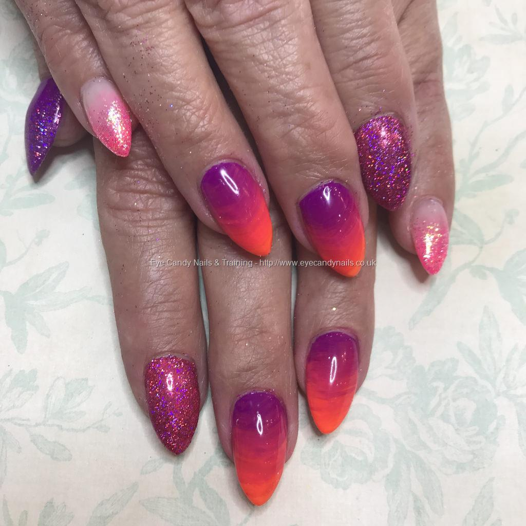 Dev Guy - Almond Acrylics With Neon Purple And Orange Ombré With ...