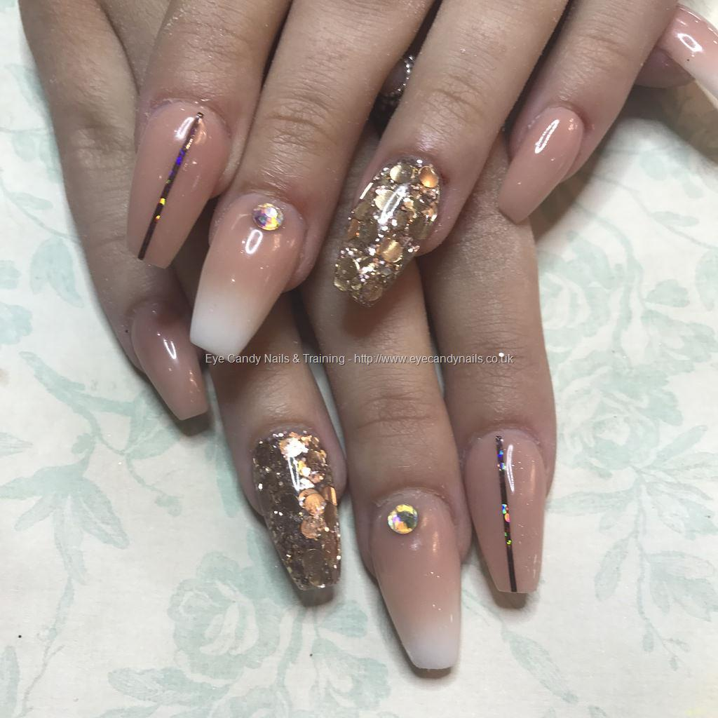 Pink And White Ombre Nails With Gold Glitter - best menu ...