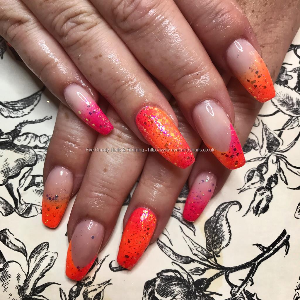 Social Build - Tapered Acrylics With Neon Pink And Orange Gel Polish ...