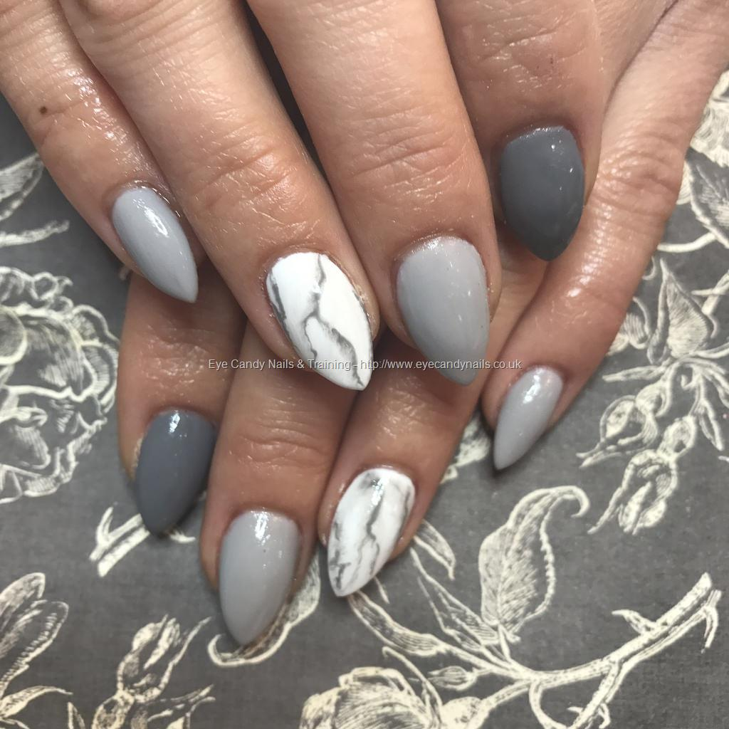 Almond Acrylics With Grey Gel Polish With Marble