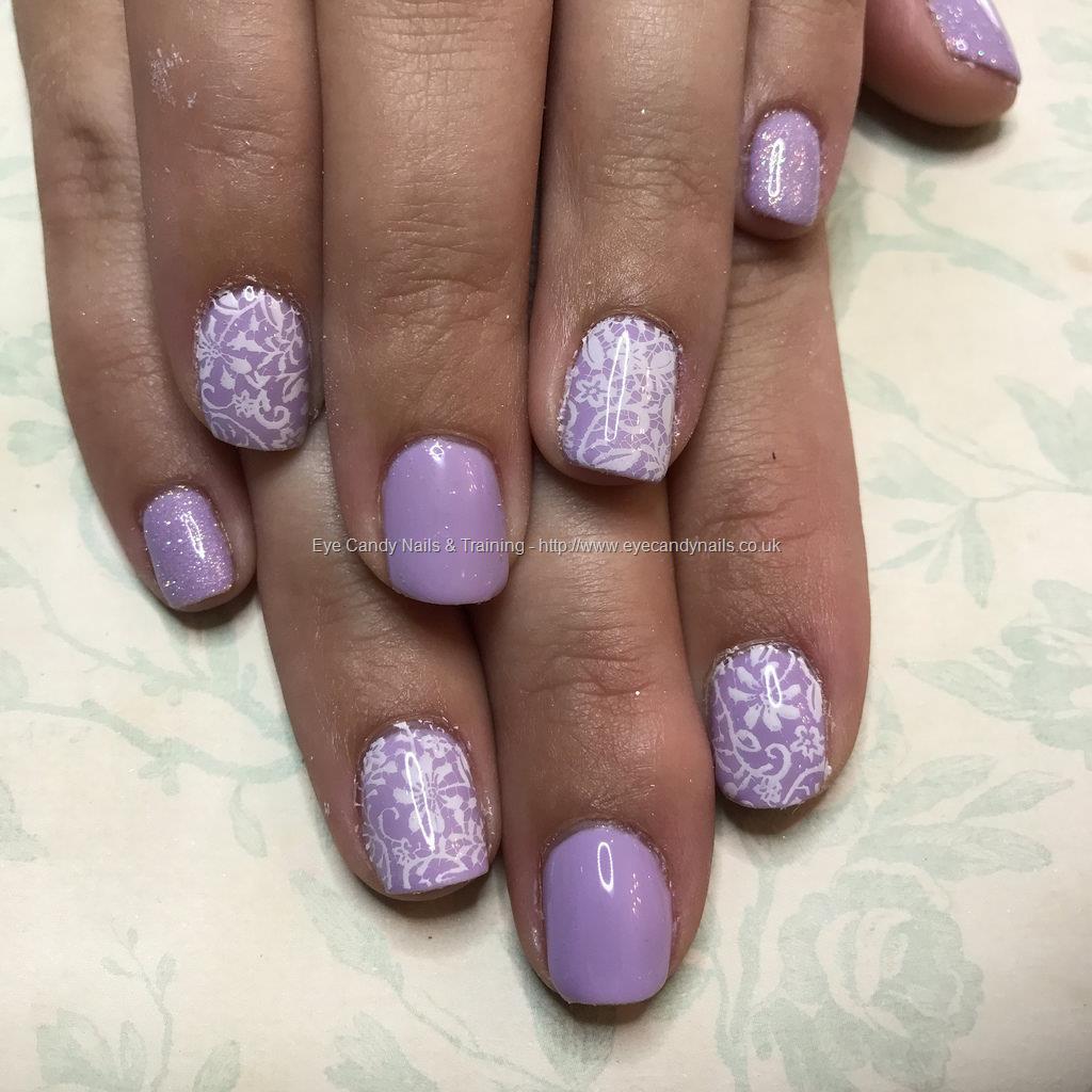 Social Build - Lilac Gel Polish On Natural Nails With Lace Nail Art ...
