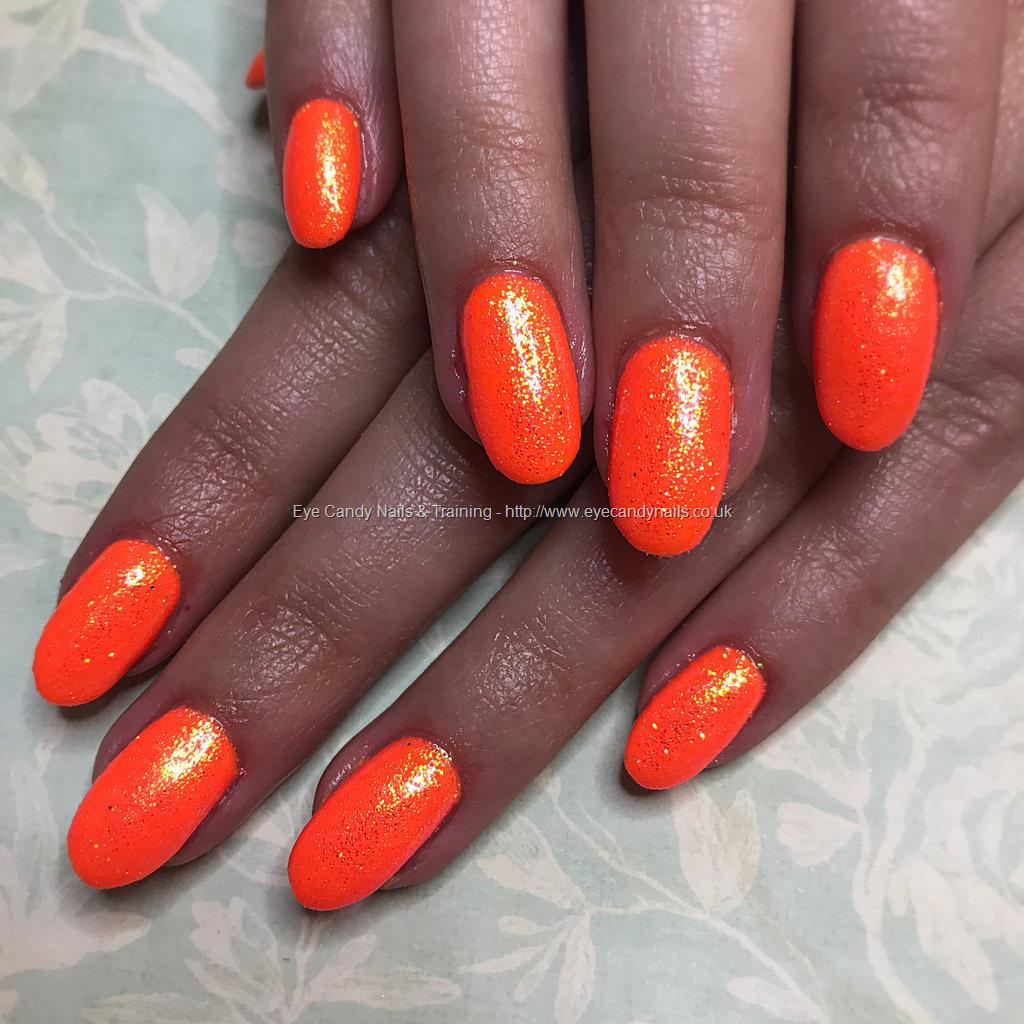 Social Build - Gel Overlay On Natural Nails With Neon Orange Gel ...