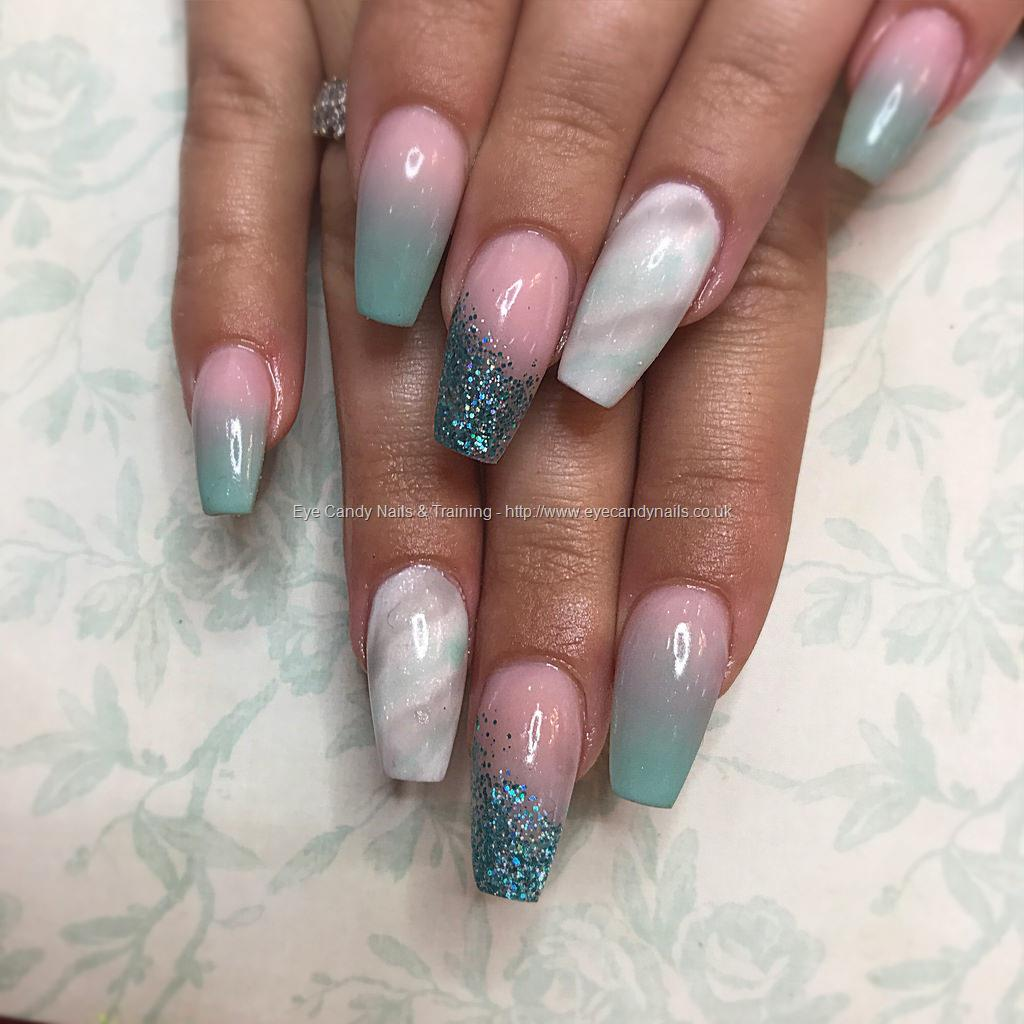 Dev Guy Tapered Acrylics With Mint Green And Cover Pink Ombr