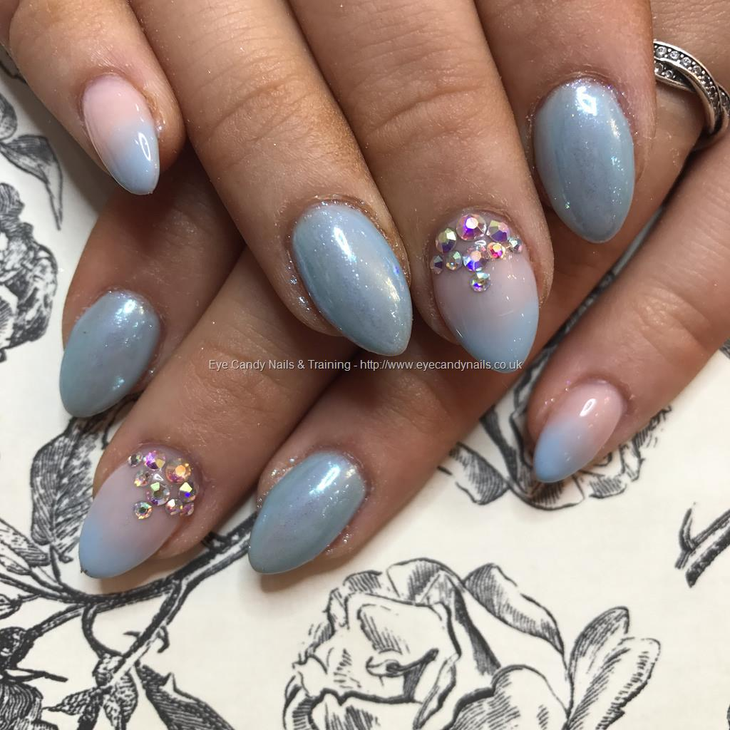 Dev Guy Almond Acrylics With Baby Blue Gel Polish With Pink And