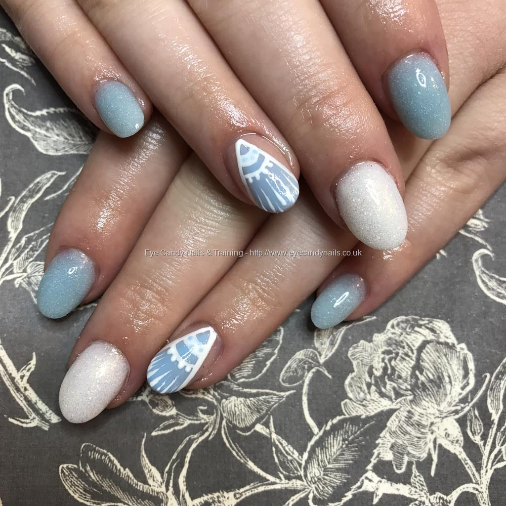 Dev Guy - Acrylic Overlays On Natural Nails With Baby Blue And White ...