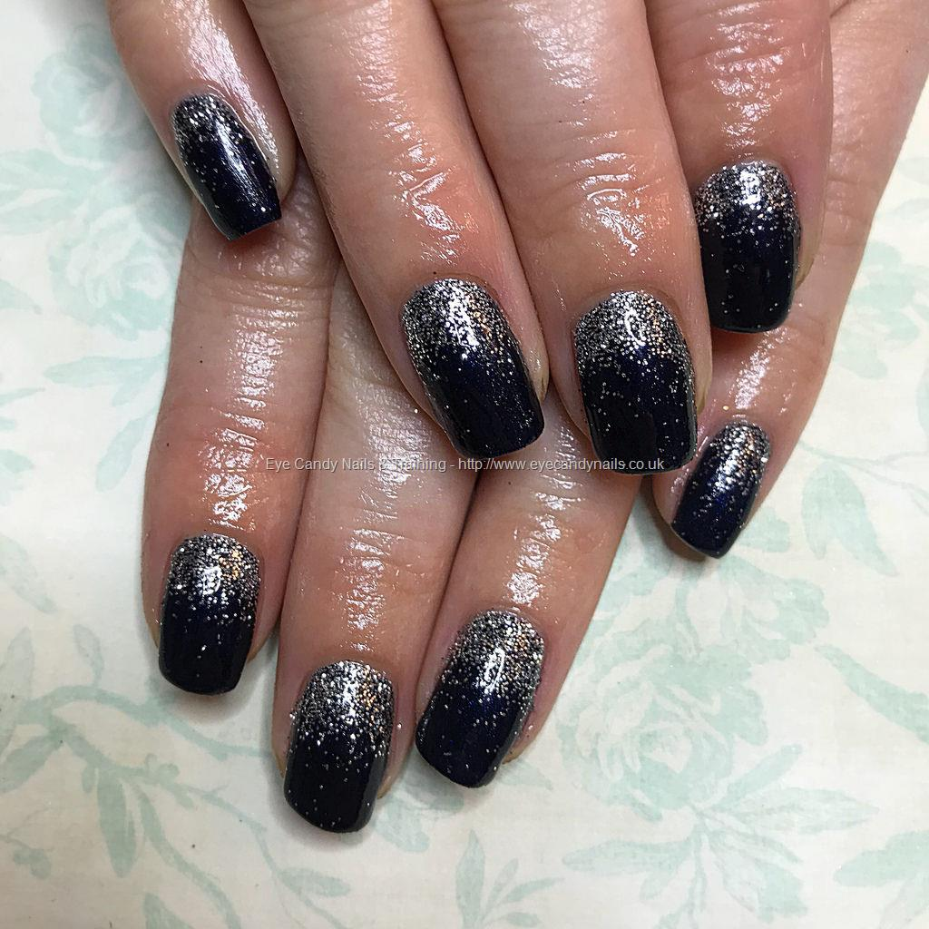 Social Build - Midnight Satin Gel Polish With A Silver Glitter Fade ...