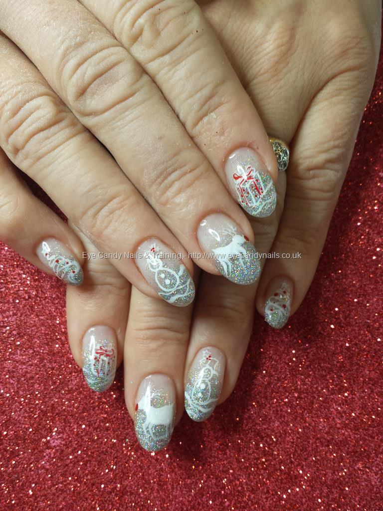 Dev Guy Silver Glitter Fade With Freehand Christmas Nail Art Nail