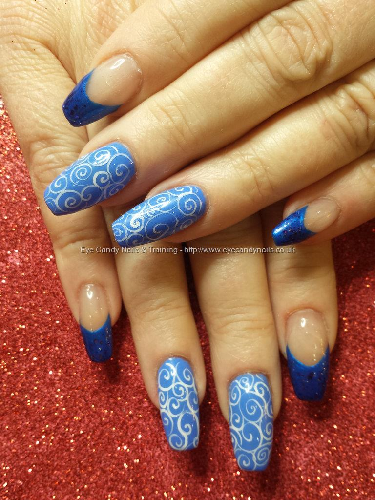 Social Build - Blue Gels With White Freehand Swirl Nail Art. Nail ...