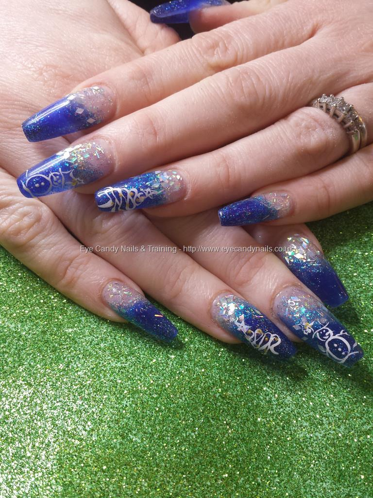 Dev Guy Blue And Silver Glitter Acrylic With Freehand Christmas