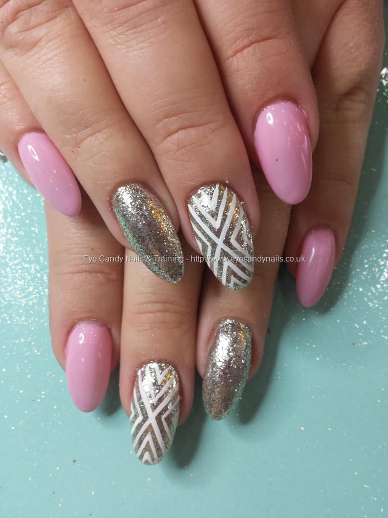 Social Build - No 38 Gel With Silver Glitter And Freehand Nail Art ...