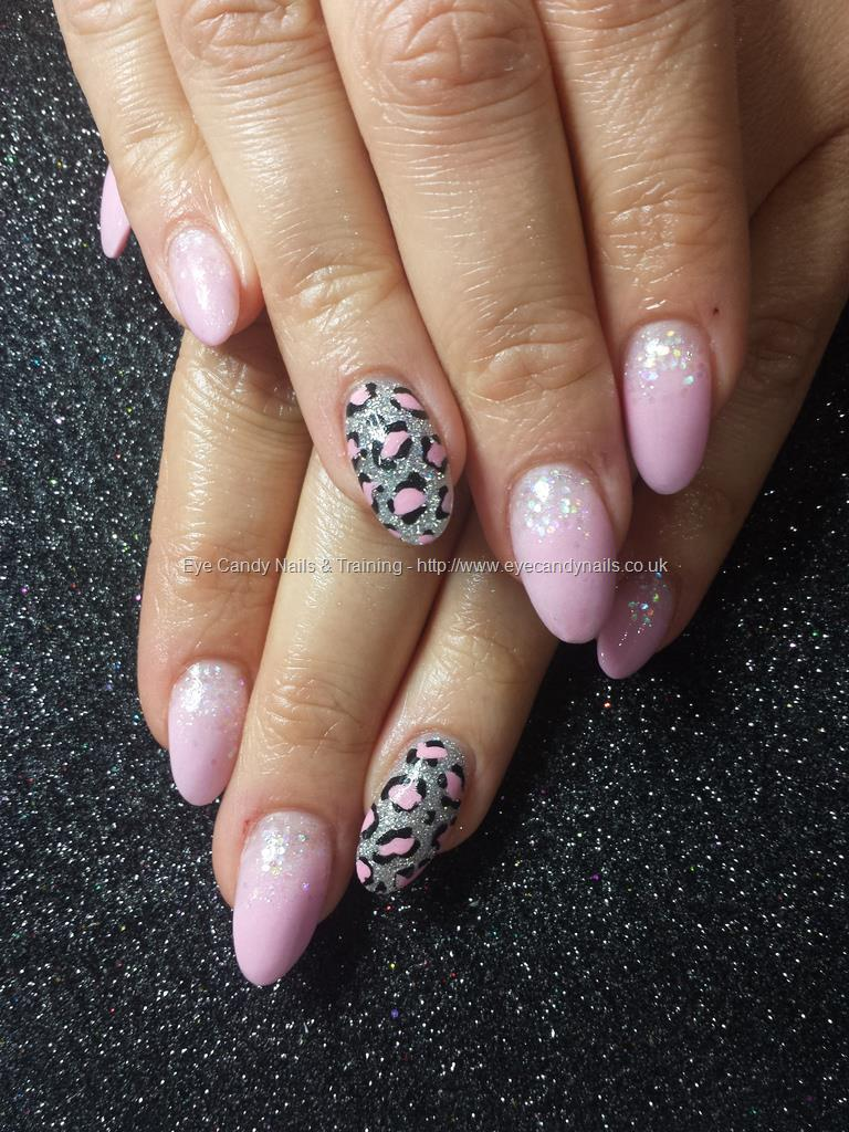 Pink Acrylic With Freehand Nail Art. Nail