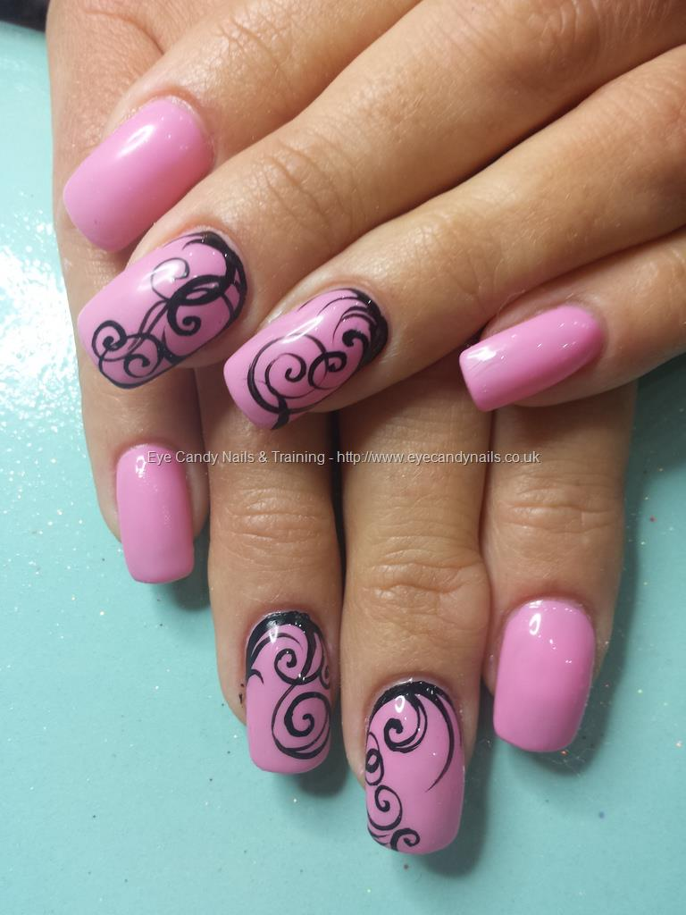 Social Build - Gel 29 Pink Gel Polish With Freehand Nail Art. Nail ...