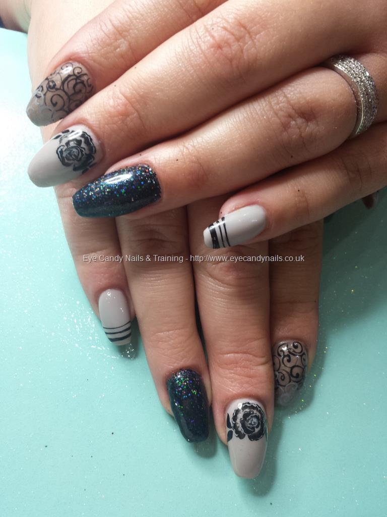 Dev Guy Sheer Black Gel Polish With Freehand Nail Art And One