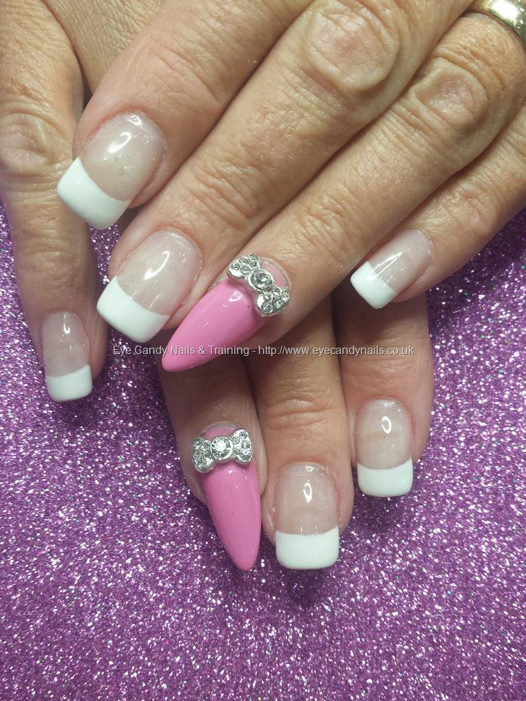 Social Build - White French Tips With Crystal Bows And Pink Ring ...