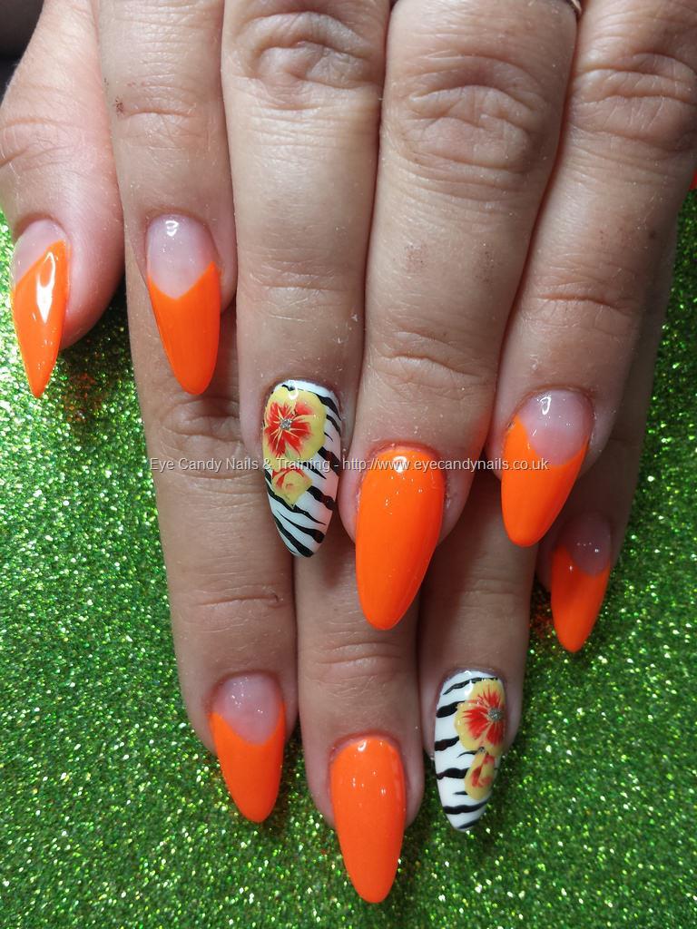 Social Build - Neon Orange With Zebra And One Stroke Flower Nail Art ...
