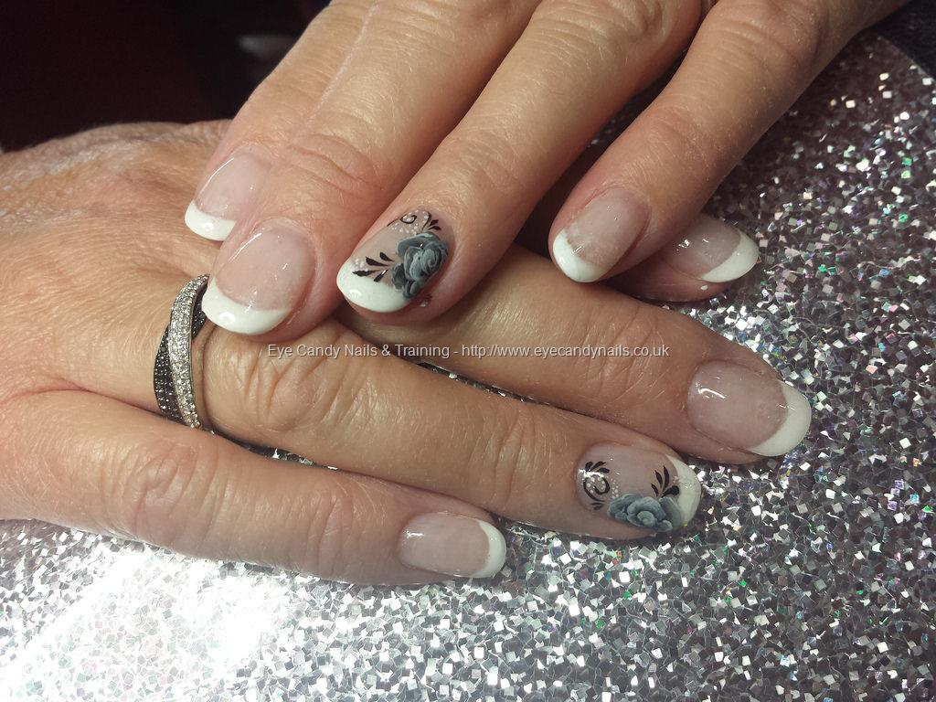 Social Build - White French Tips With One Stroke Flower Nail Art ...