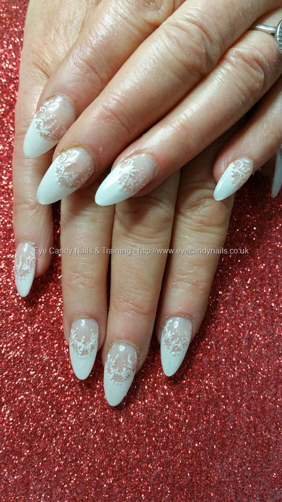 Social Build - White French Acrylic Almond Nails With Freehand Lace ...