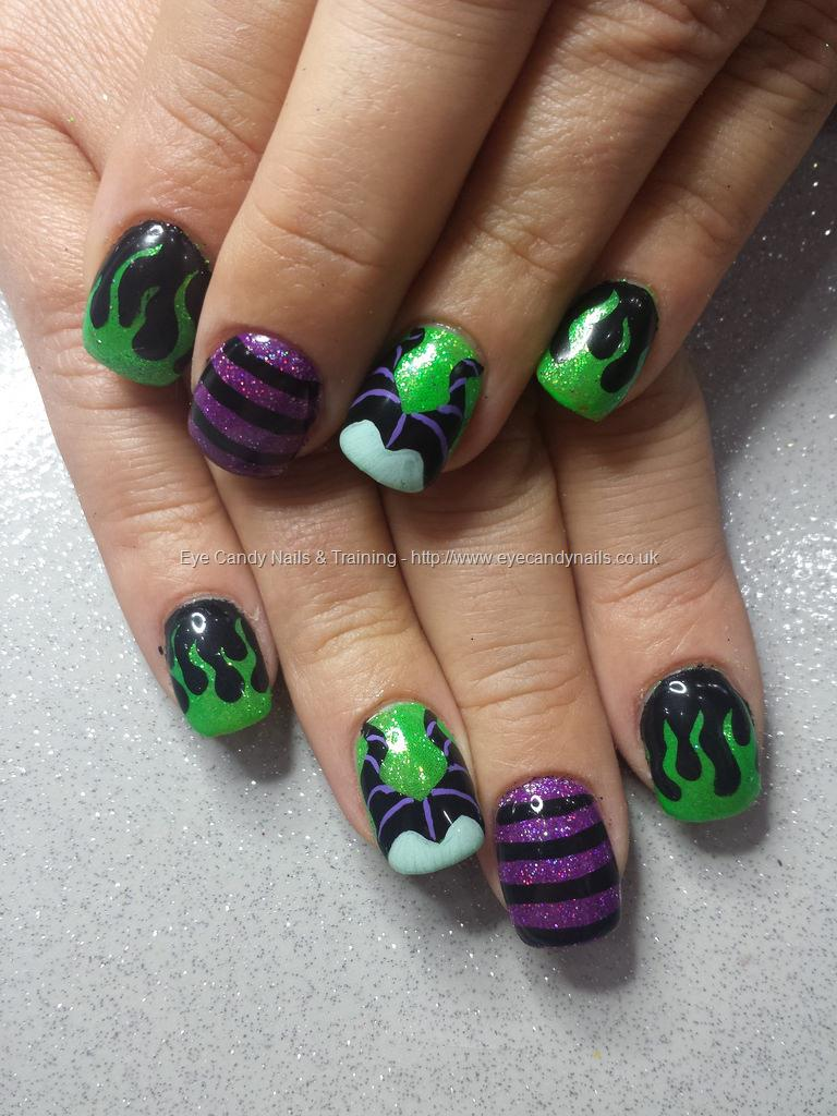 Dev Guy Green And Purple Glitter With Freehand Disney Malifacent