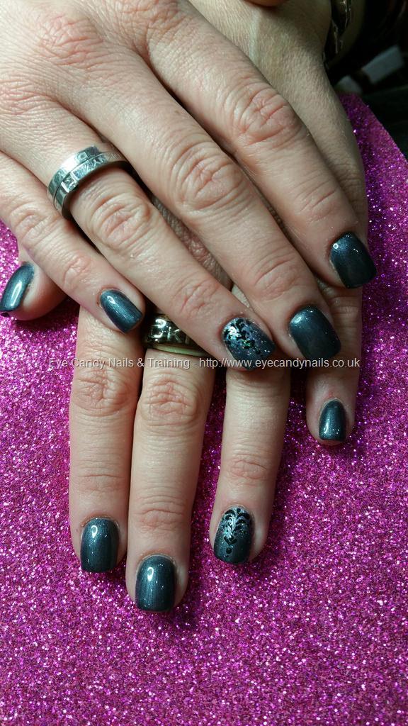 Dev Guy - Short Square Acrylic Nails With Dark Grey Polish And ...
