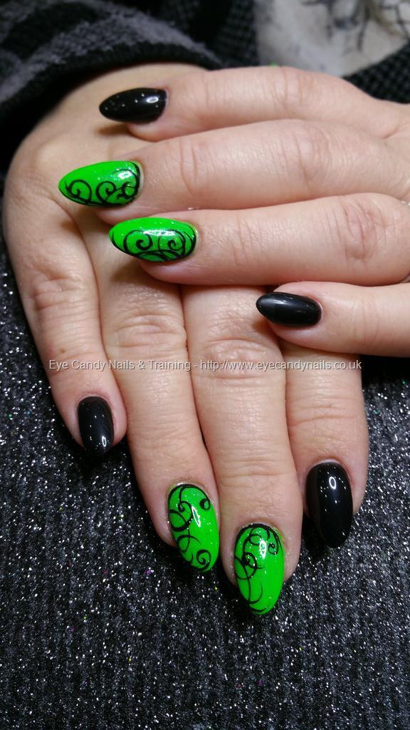 Dev Guy Neon Green And Black Gel Polish With Black Freehand Swirl