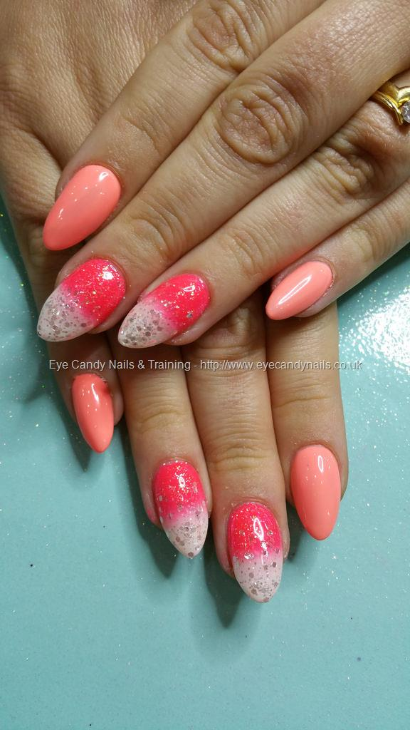 Social Build - Neon Peach Gel Polish With Coral And White Fade. Nail ...