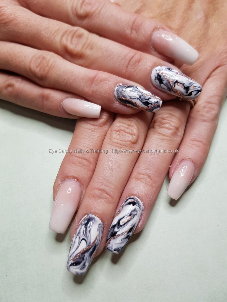 Dev Guy French Ombre Fade With Black And White Gel Marble Nail Art