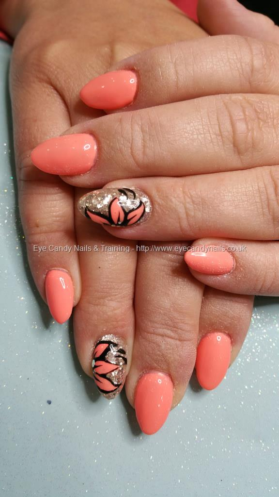 Social Build - Neon Peach Gel Polish With Glitter And Flower Nail ...