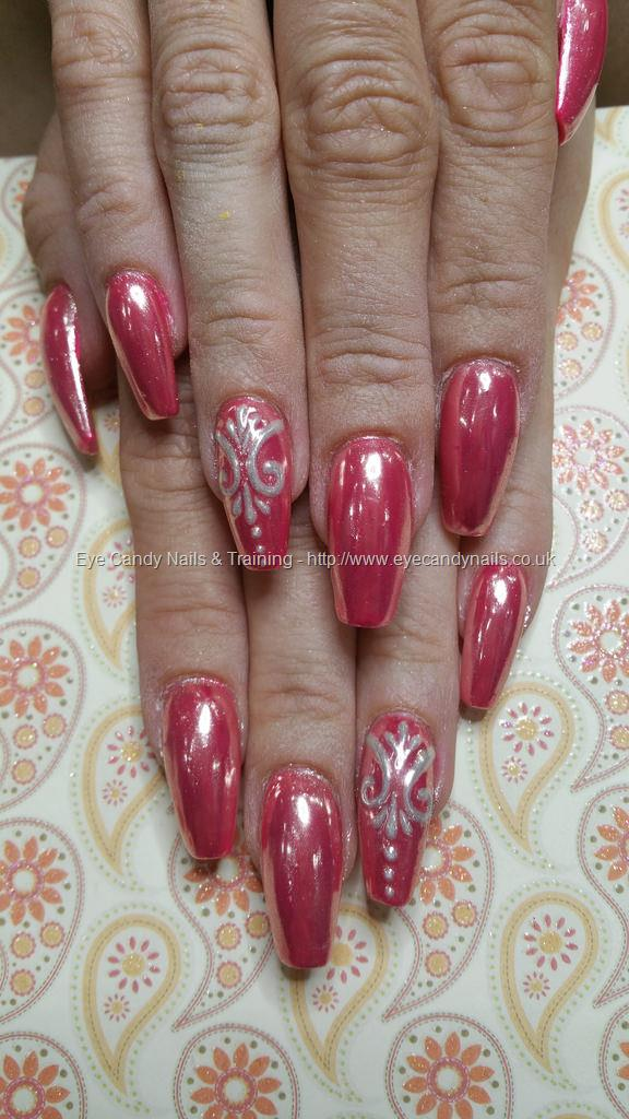 Social Build - Pink Chrome With Freehand Gel Nail Art. Nail ...