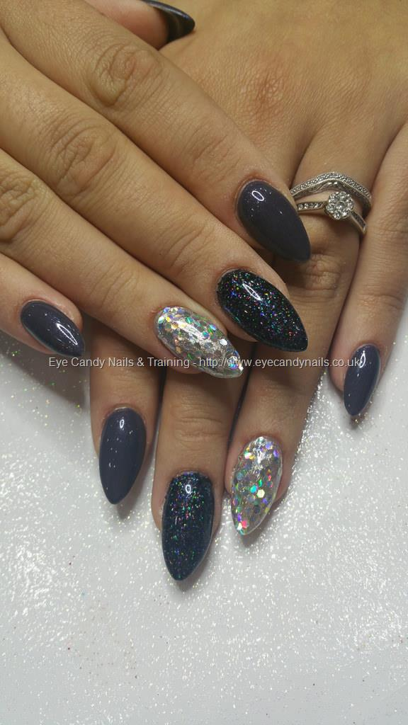 Black And Silver Glitter Over Almond Acrylic Nails Nail TechnicianElaine Moore Taken At