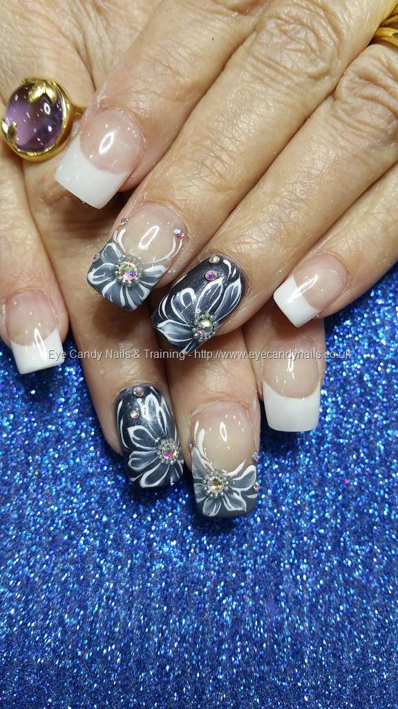 Social Build - White Acrylic French Tips With Freehand Gel Flower ...