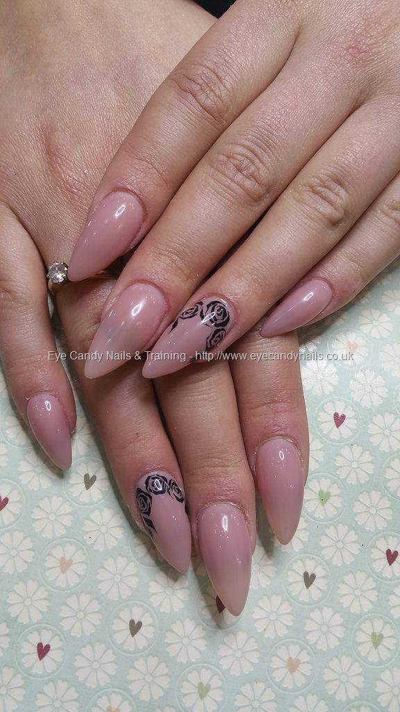 Dev Guy Peach Blush Acrylic Pointed Almond Nails With Black